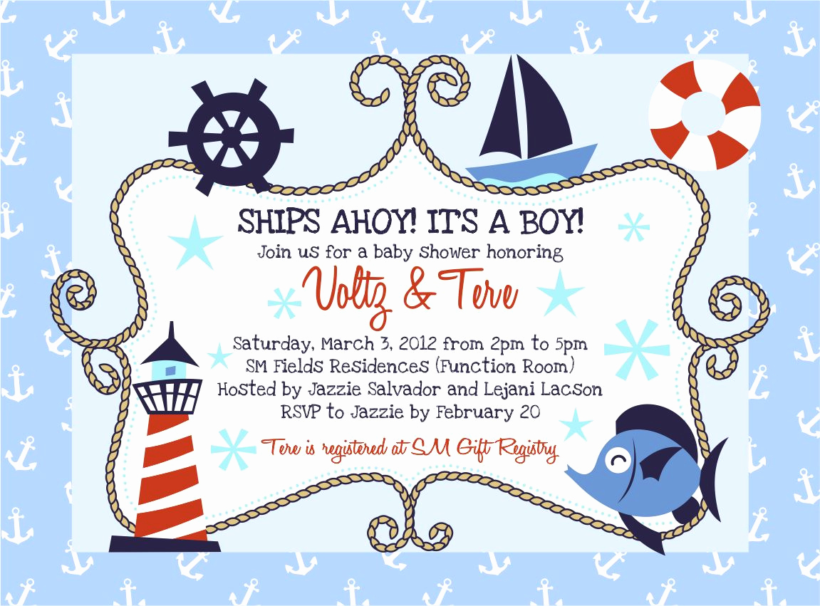 Free Nautical Invitation Templates Inspirational Nautical Baby Shower Invitations Templates