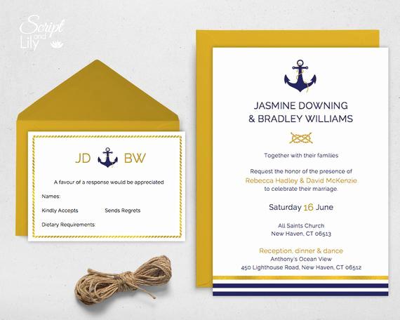 Free Nautical Invitation Templates Lovely Items Similar to Ships Anchor Wedding Invitation Template