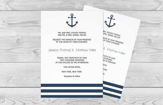Free Nautical Invitation Templates Lovely Nautical Wedding Invitation Printable Template by