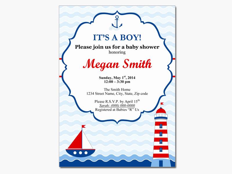 Free Nautical Invitation Templates Luxury Nautical Baby Boy Shower Invitation Diy by Designtemplates