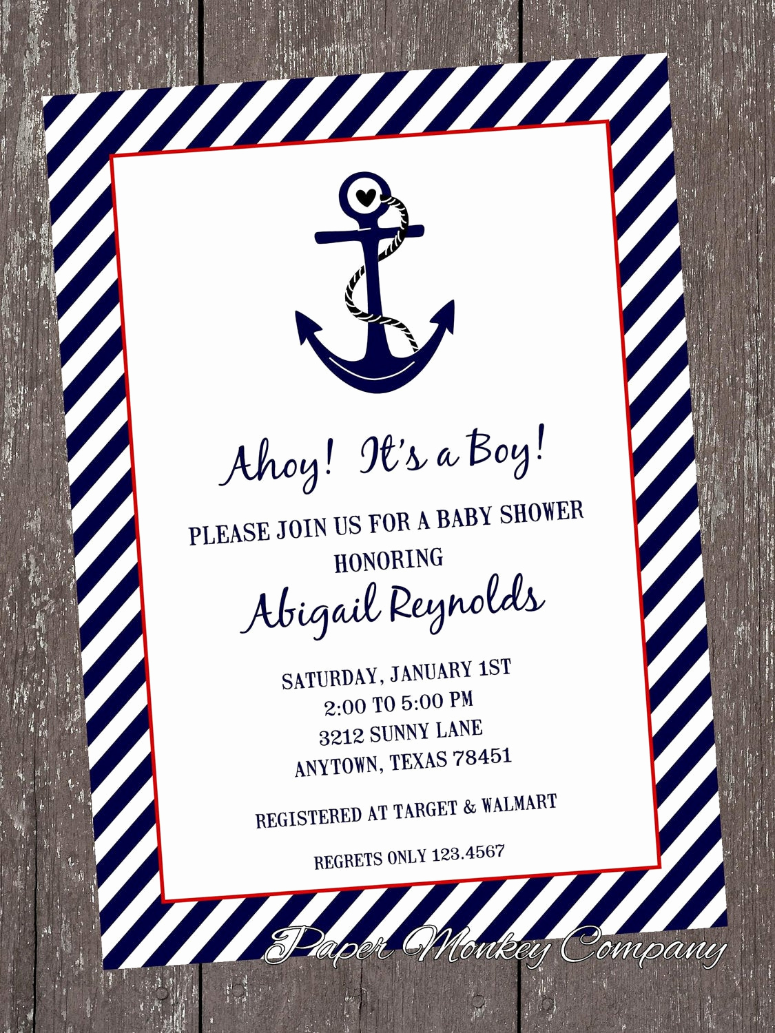 Free Nautical Invitation Templates Luxury Nautical Baby Shower Invitations 1 00 Each with by