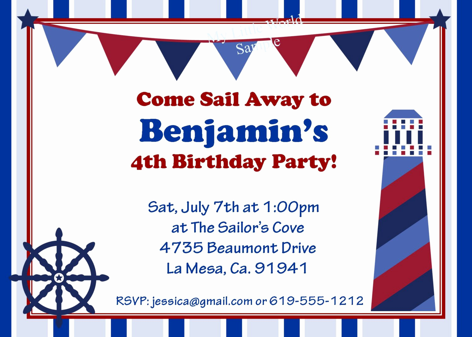 Free Nautical Invitation Templates New Nautical Birthday Invitation
