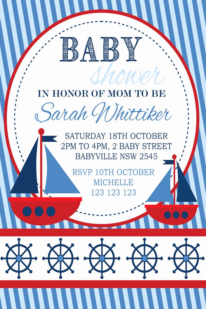 Free Nautical Invitation Templates Unique Nautical Baby Shower Invitation Templates Free Party Xyz
