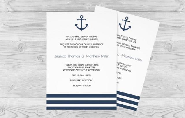 Free Nautical Invitation Templates Unique Nautical Wedding Invitation Template 5 X 7 Navy Anchor