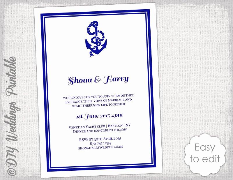 Free Nautical Invitation Templates Unique Printable Nautical Wedding Invitation Template Diy