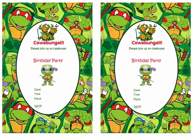 Free Ninja Turtle Invitation Templates Awesome Teenage Mutant Ninja Turtles Birthday Invitations