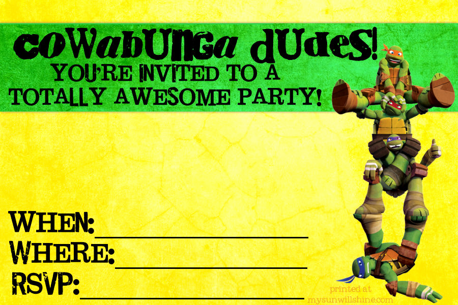 Free Ninja Turtle Invitation Templates Awesome Teenage Mutant Ninja Turtles Birthday Invitations