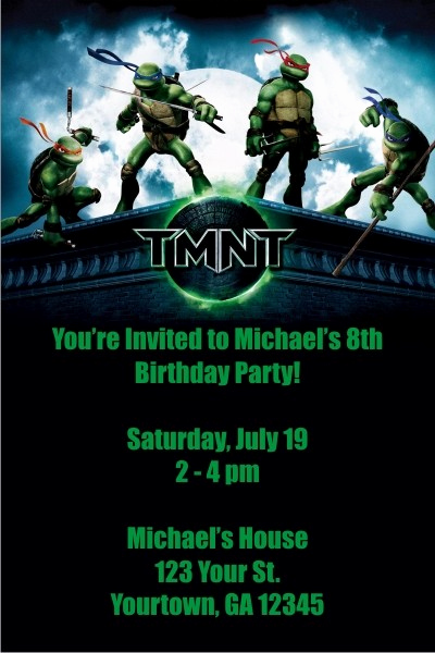 Free Ninja Turtle Invitation Templates Elegant Teenage Mutant Ninja Turtles Invitations Tmnt