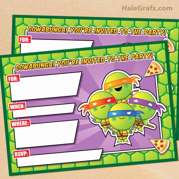 Free Ninja Turtle Invitation Templates New Free Printable Tmnt Ninja Turtle Birthday Invitation