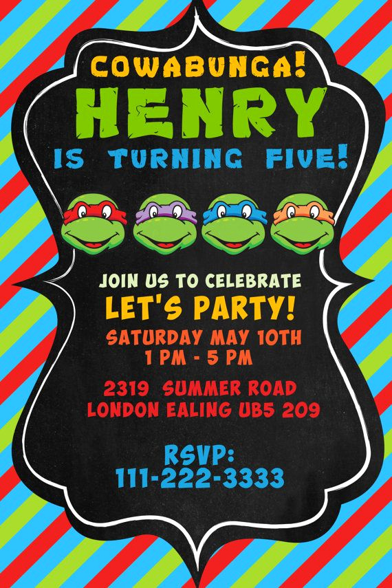 Free Ninja Turtle Invitation Templates New Teenage Mutant Ninja Turtles Invitation Tmnt by