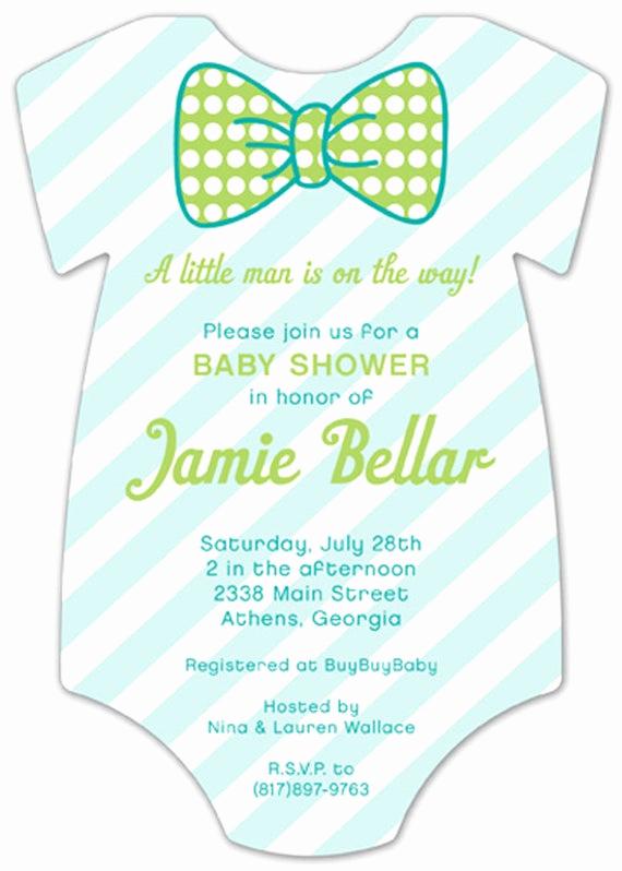 Free Onesie Invitation Template Luxury Pattern Cutie Esie Baby Shower Invitation sold In Sets Of