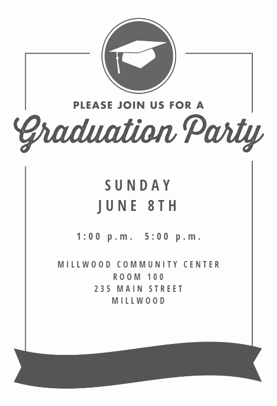 Free Online Graduation Invitation Templates Awesome Ribbon Graduation Graduation Party Invitation Template