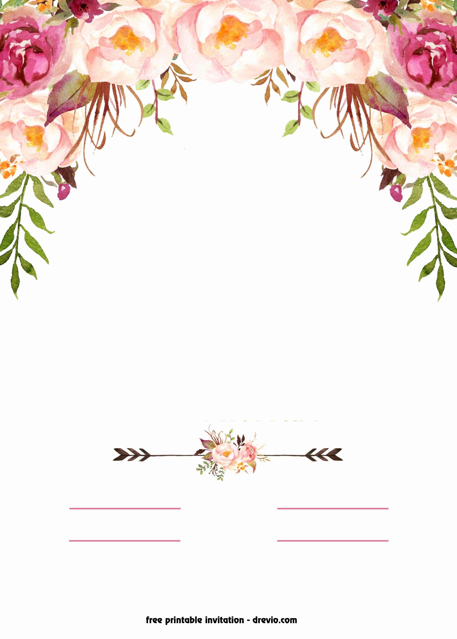 Free Online Invitation Templates Beautiful Free Printable Boho Chic Flower Baby Shower Invitation