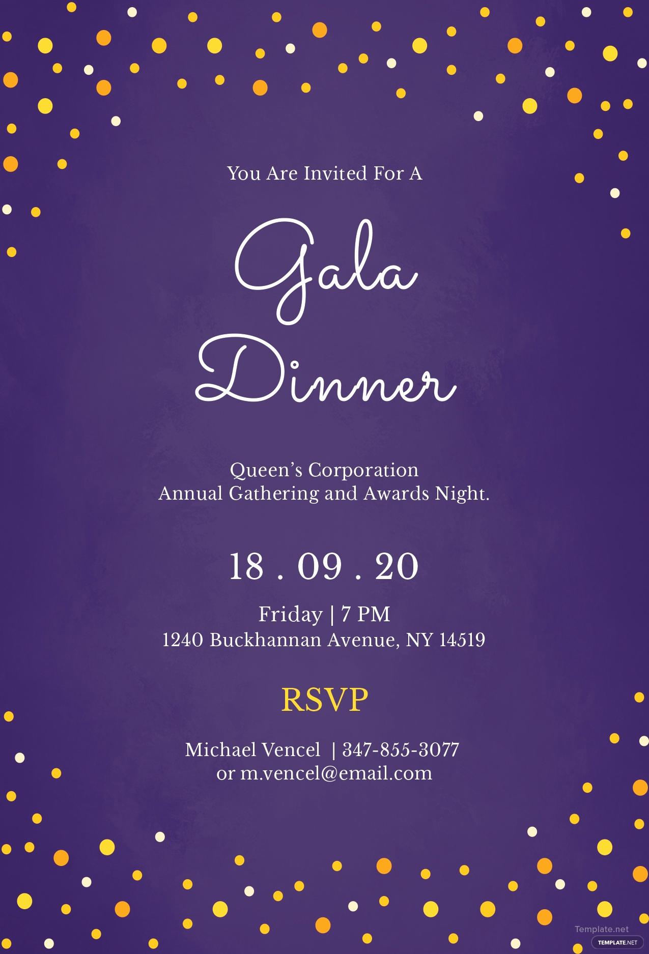 Free Online Invitation Templates Unique Free Gala Dinner Night Invitation Template In Illustrator