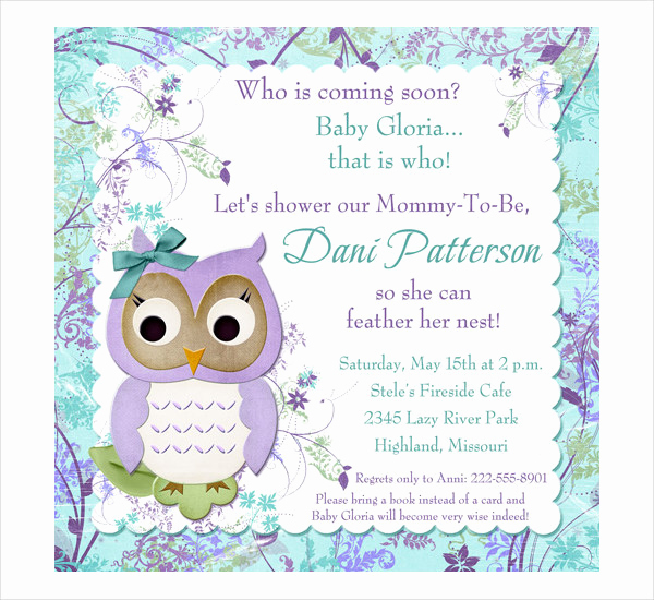 Free Owl Invitation Template Beautiful 43 Printable Baby Shower Invitations Psd Ai Word Eps