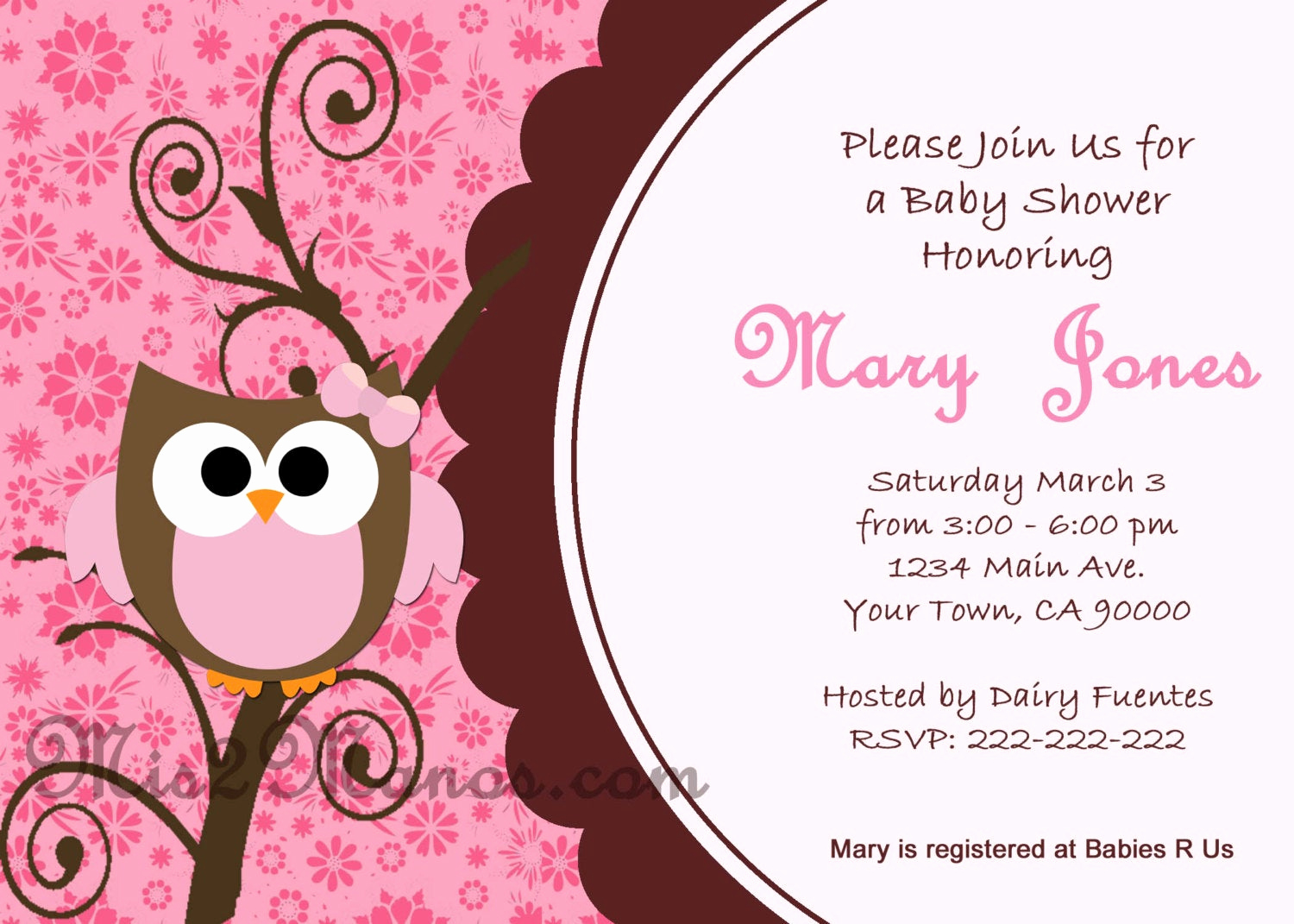 Free Owl Invitation Template Inspirational Baby Shower Owl Invitations Printable Pink Owl Custom order