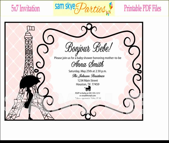 Free Paris themed Invitation Template Awesome Paris Baby Shower Invitation Printable File by Samskyeparties