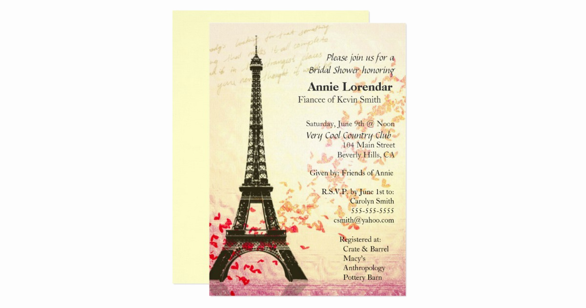 Free Paris themed Invitation Template Awesome Paris themed Bridal Shower Invitation Template