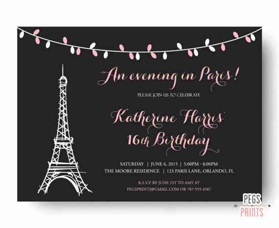 Free Paris themed Invitation Template Elegant Paris Sweet 16 Birthday Invitations Printable Paris