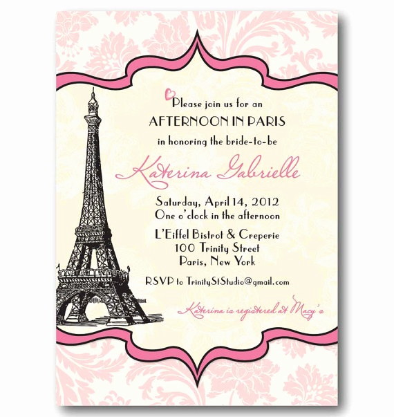 Free Paris themed Invitation Template Elegant Vintage Paris Invitation Bridal or Baby Shower by