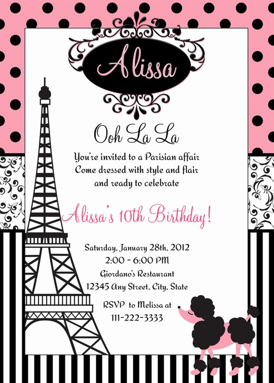 Free Paris themed Invitation Template Fresh Paris Birthday Invitation Printable File Diy Pink Polka