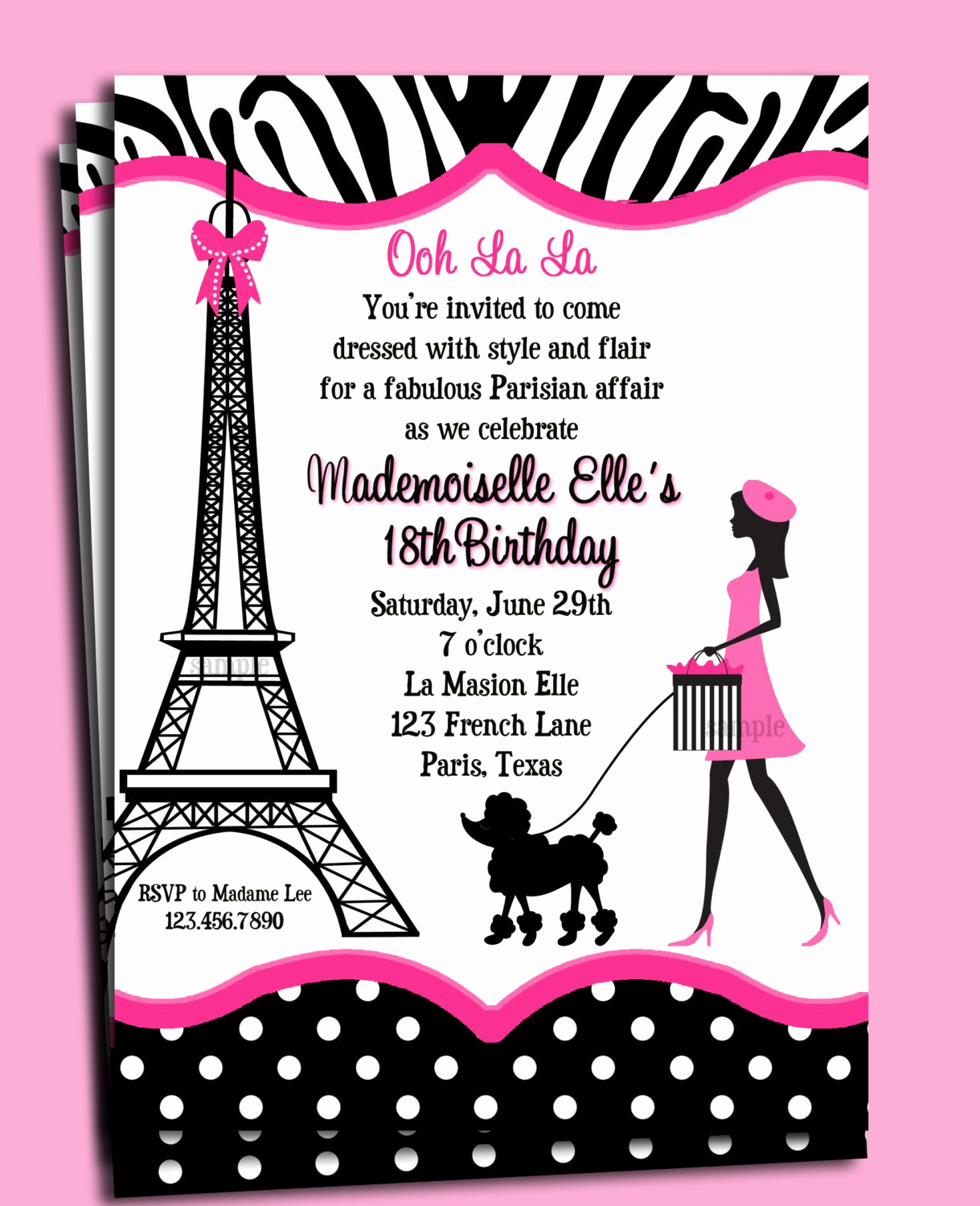 Free Paris themed Invitation Template Fresh Paris Invitation Printable or Printed with Free Shipping