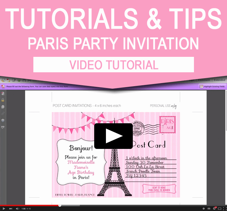 Free Paris themed Invitation Template Lovely How to Edit My Paris Invitation Template Video Tutorial