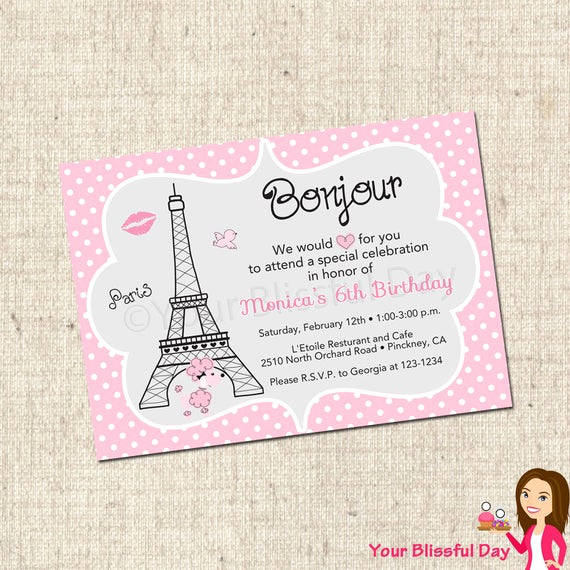 Free Paris themed Invitation Template Lovely Printable Paris Party Invitation 565 by Yourblissfulday