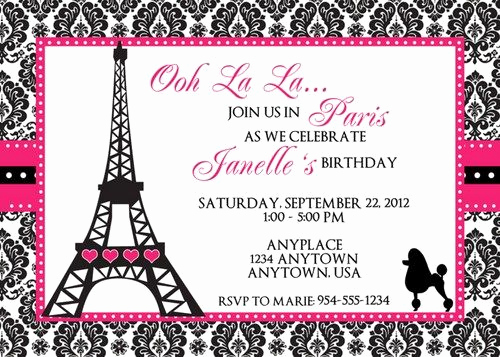 Free Paris themed Invitation Template Unique Paris Birthday Invitation Template Imagestack