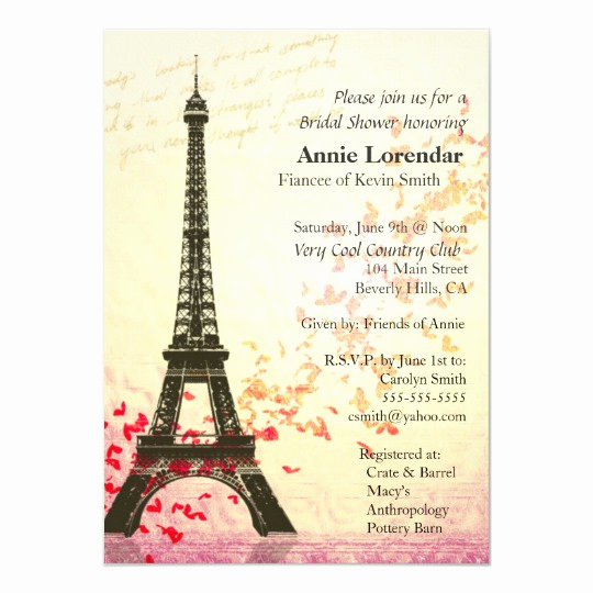 Free Paris themed Invitation Template Unique Paris themed Bridal Shower Invitation Template