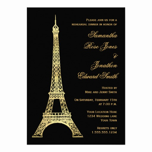 Free Paris themed Invitation Template Unique Parisian Eiffel tower Black Gold Rehearsal Dinner Custom