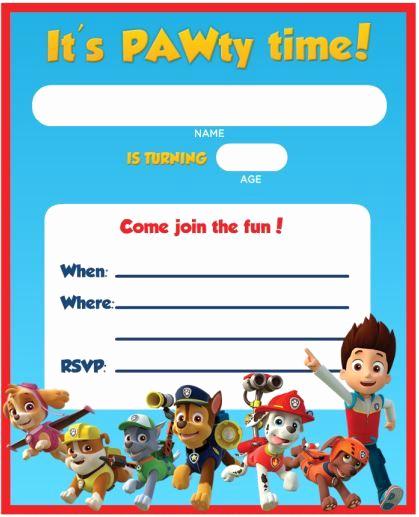 Free Paw Patrol Invitation Template Beautiful Free Printable Paw Patrol Birthday Invitation Ideas
