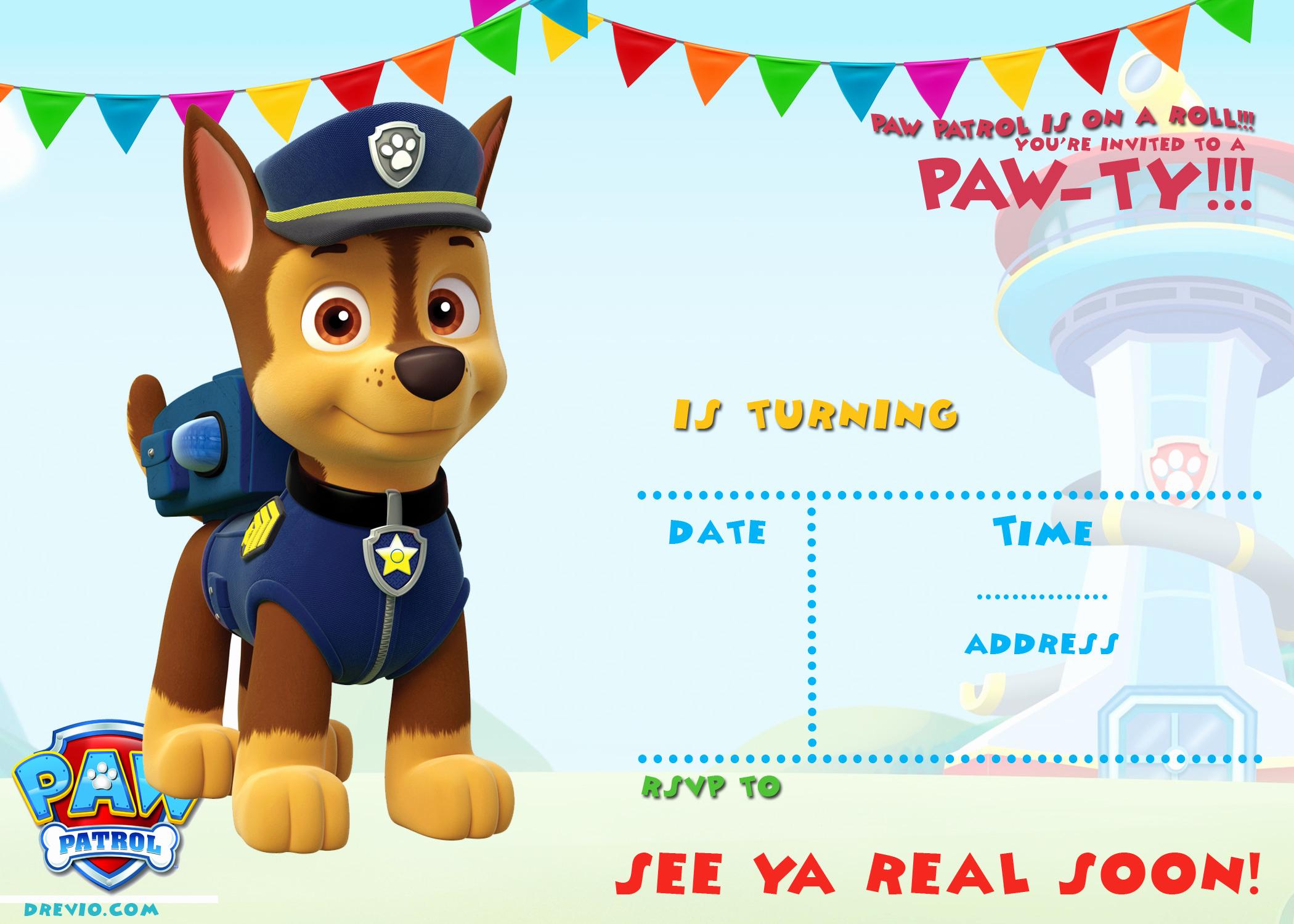 Free Paw Patrol Invitation Template Elegant Free Printable Paw Patrol Birthday Invitation Ideas