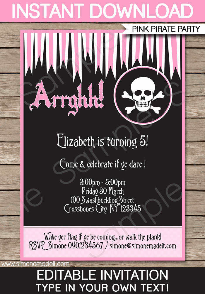 Free Pirate Invitation Template Awesome Pirate Girl Party Invitations Template