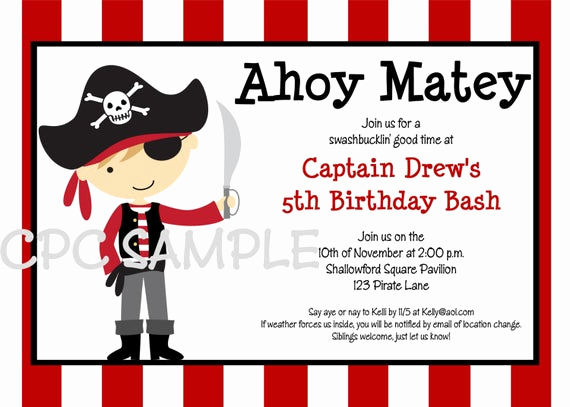 Free Pirate Invitation Template Best Of Pirate Birthday Invitation Printable or Printed Boy