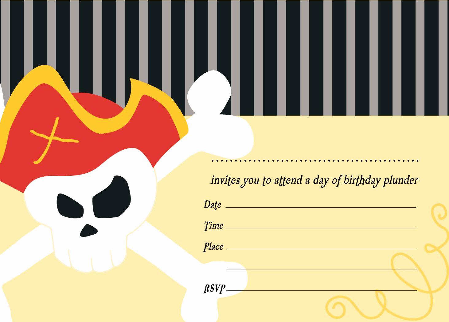 Free Pirate Invitation Template Elegant Pirate Party Invitation Templates