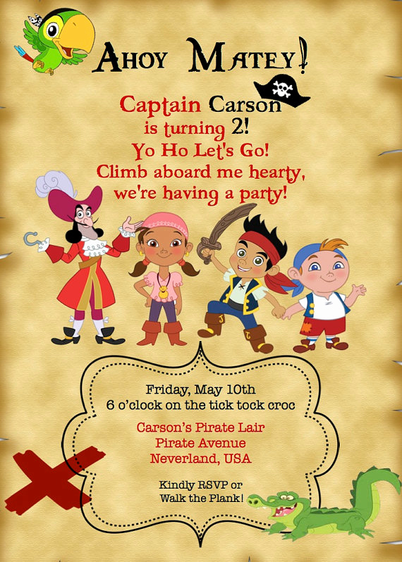 Free Pirate Invitation Template Fresh Free Printable Jake and the Neverland Pirates Invitations