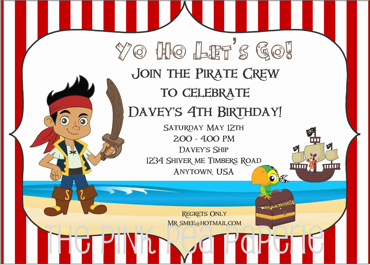 Free Pirate Invitation Template Inspirational Jake and the Neverland Pirates Birthday Invitations – Free