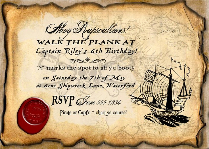 Free Pirate Invitation Template Luxury Pirate Birthday Party Invitation Instant Download