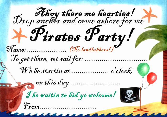 Free Pirate Invitation Template Luxury Pirates Party Invitation