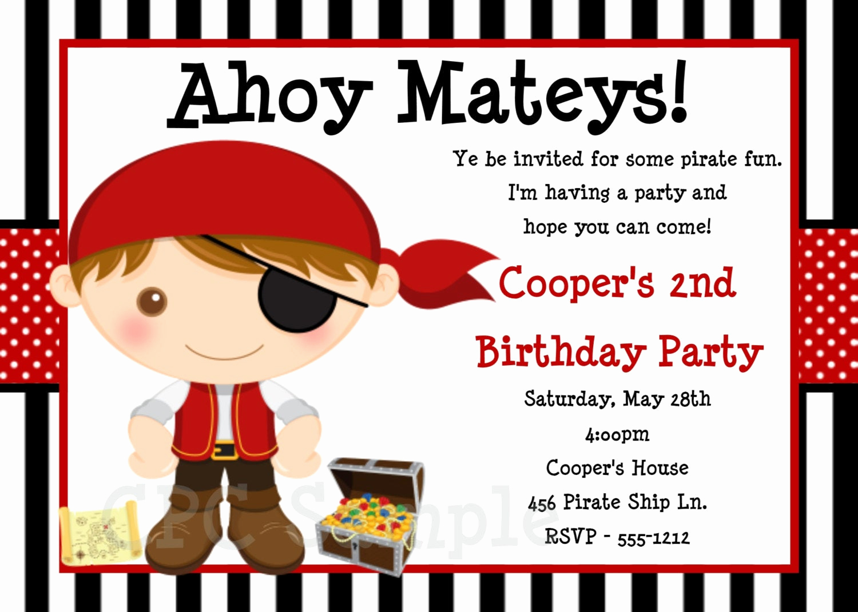 Free Pirate Invitation Template New Pirate Birthday Invitation Pirate Party Invitations
