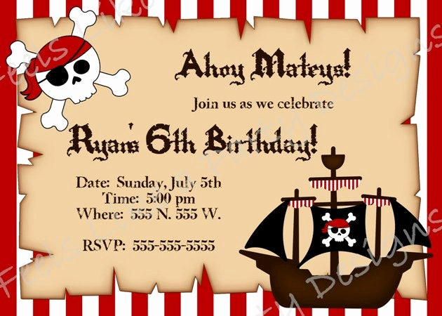 Free Pirate Invitation Template Unique Custom Pirate Birthday Invitation by Feelslikeaparty On Etsy