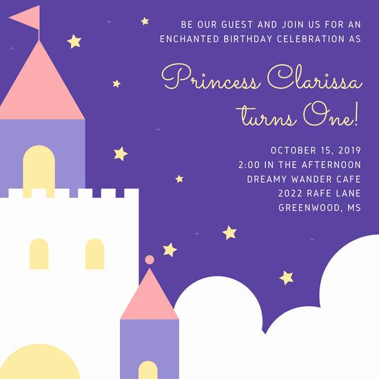 Free Princess Invitation Template Beautiful Customize 132 Princess Invitation Templates Online Canva