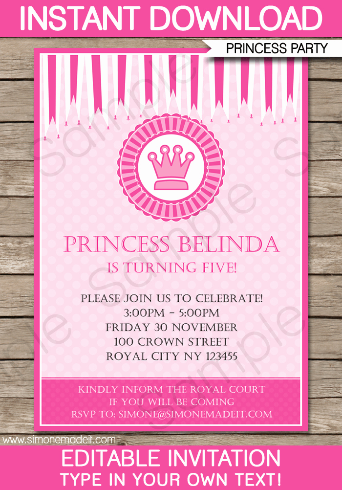 Free Princess Invitation Template Best Of Princess Party Invitations Template