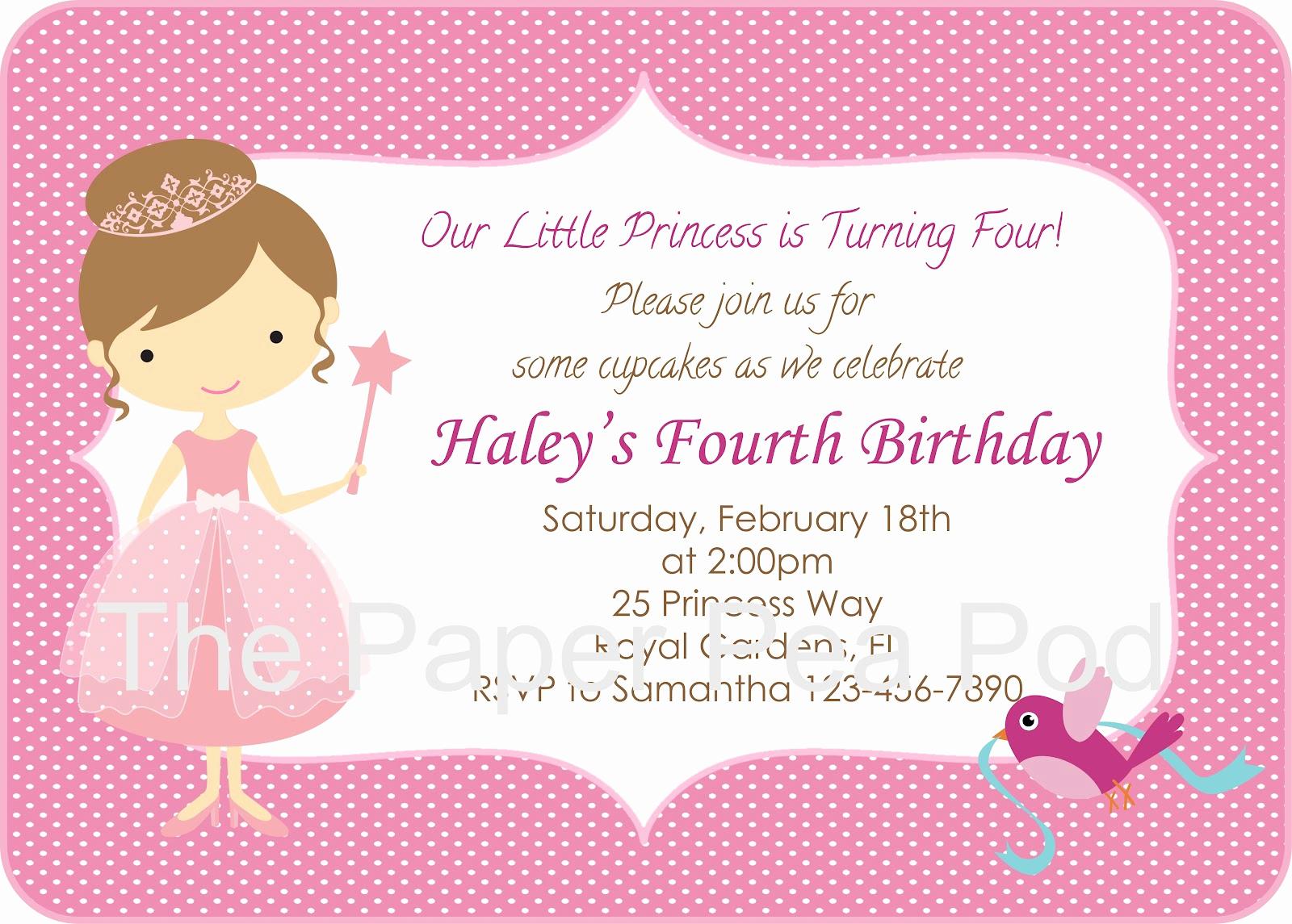 Free Princess Invitation Template Fresh Pink Princess Birthday Invitation