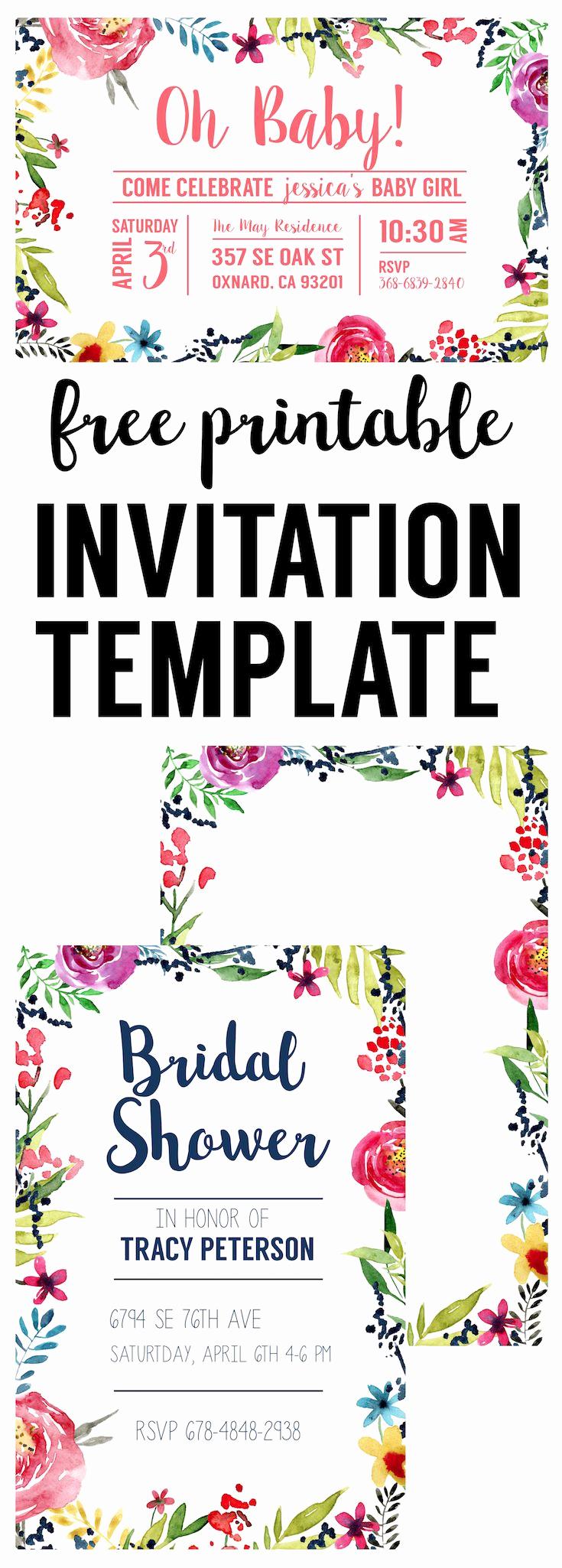 Free Printable Birthday Invitation Templates Best Of Floral Borders Invitations Free Printable Invitation