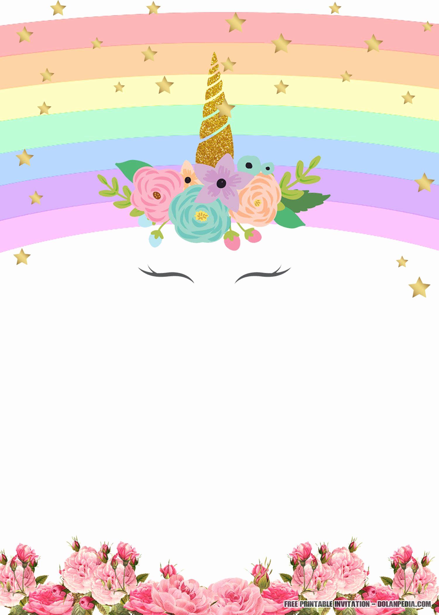 Free Printable Birthday Invitation Templates Elegant Free Printable Unicorn Rainbow Invitation