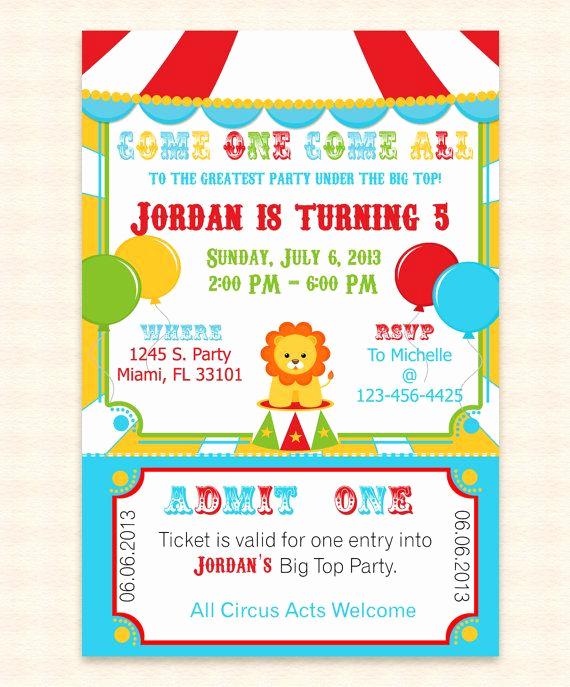 Free Printable Carnival Invitation Templates Elegant Big top Circus Printable Invitation Design Editable