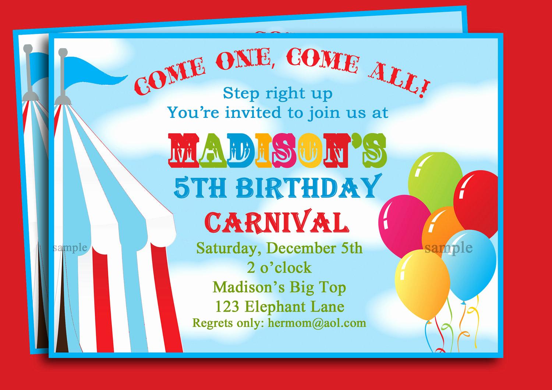 Free Printable Carnival Invitation Templates Elegant Carnival themed Birthday Party Invitations