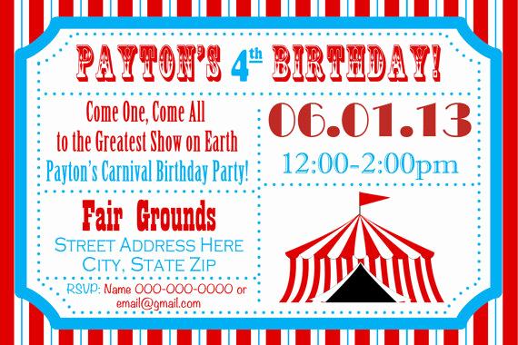 Free Printable Carnival Invitation Templates Elegant Carnival themed Party Invitations Party Invitation